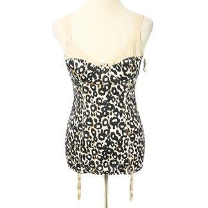 NWT Jessica Simpson Leopard Print Garter Chemise